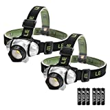LE LED Headlamp, 4 Lighting Modes Headlight, Battery Powered Helmet Light, AAA Batteries Included for Camping Running Hiking Reading and more, Pack of 2