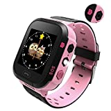 Smart Watch for Kids, lbs Monitor Locator with Camera Watch Phone Two-Way Call Activity Tracker with Electronic Fence SOS Function, Anti-Lost Location Device Tracker for Kids Girls Boys T09 (Pink)