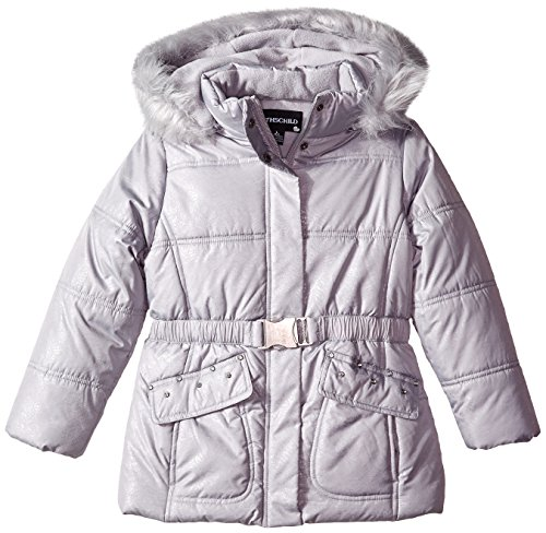 (Rothschild Little Girls' Lace Print Puffer Coat, Dove Grey, Small/4)