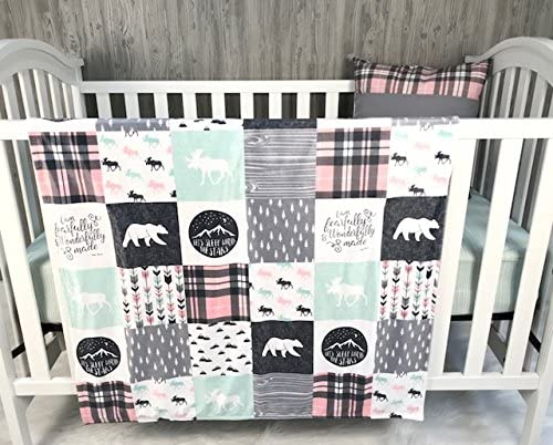 Baby Girl Nursery Crib Bedding, Baby, Psalm, Fearfully Made, Woodland, Bear, Moose, Arrow, Bear, Baby Bedding, Crib Bedding, Babylooms