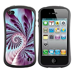 "Pulsar iFace Series Tpu silicona Carcasa Funda Case para Apple iPhone 4 / iPhone 4S , Helecho Plant Life espiral Símbolo púrpura del arte"""