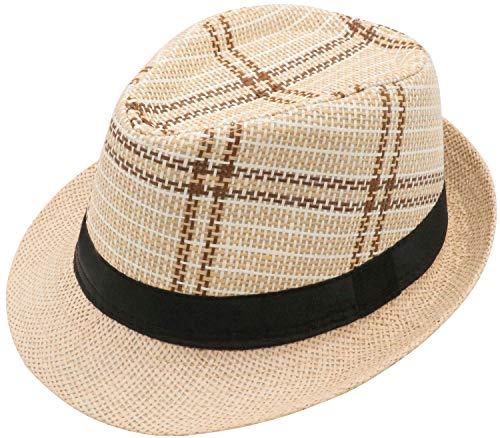 Unisex Fedora Straw Sun Hat Summer Vintage Classic Gangster Panama Jazz Beach Cap Men Women