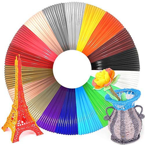 WESEN 3D Pen/Printer Filament Refills 3D Printing Drawing Pen Filament 1.75mm PLA of 18 Vibrant Colors 20 Feet- Total 360 Feet
