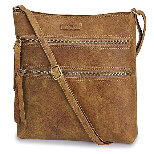 S-ZONE Vintage Genuine Crazy Horse Leather Small Crossbody Bags for Women Slim Shoulder Purse (Light Brown) ()