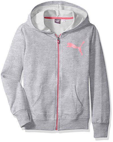 PUMA Girls' Toddler Zip Hoodie, Light Heather Grey ()