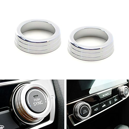 iJDMTOY 2pcs Silver Anodized Aluminum AC Climate Control Ring Knob Covers For 2016-up 10th Gen Honda Civic