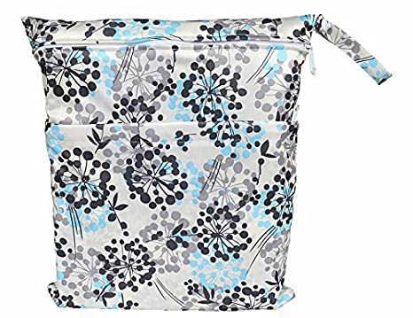 Wet Dry Bag Baby Cloth Diaper Nappy Bag Reusable with Two Zippered Pockets (Bloom) Hibaby