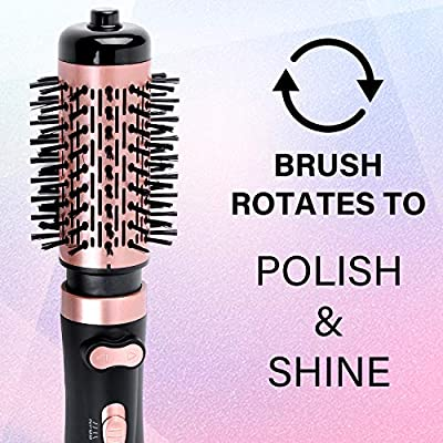 JOYYUM 1000W 3-in-1 Hot Air Spin Brush for Styling & Frizz Control Auto-rotating Curling Negative Ionic Hair Curler Dryer Brush, 1 1/2-inch AND 2-inch Brush Attachments, Rose Gold