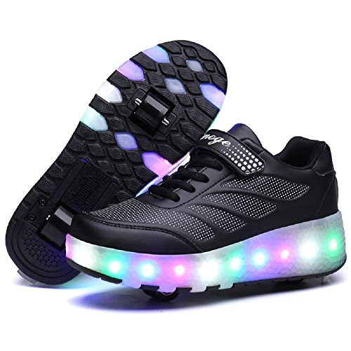 Nsasy YCOMI Girl's Boy's LED Roller Shoes with Wheels Roller Skate Sneakers Led Roller Shoes