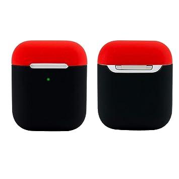 Funda de silicona para auriculares Damonlight Airpods Funda de silicona para auriculares inalámbricos Apple(Negro/Rojo)
