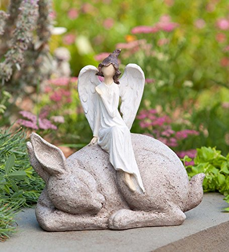 Wind & Weather DEC Garden Ornaments Angel on Bunny Statue, Multi