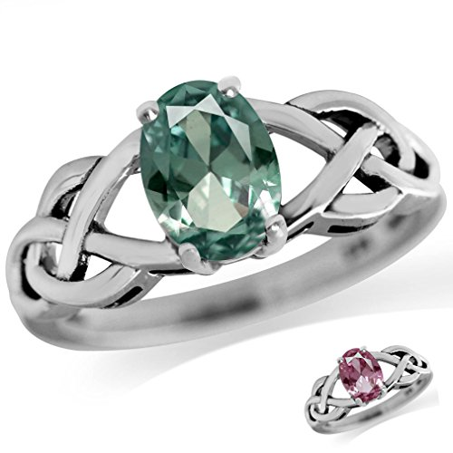 Simulated Alexandrite Ring (Simulated Color Change Alexandrite 925 Sterling Silver Celtic Knot Solitaire Ring Size 9)
