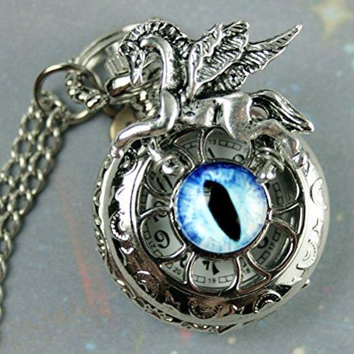Pegasus Steampunk Antique Pocket Watch Necklace Victorian Locket Pendant Charm with Glass Dragon - Antique Locket Glass