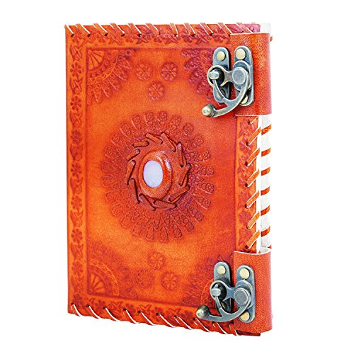 Back To School Supplies Leather Journal Diary Writing Notebook Personal Travel Diary Unlined Paper Sketchbook Doodle Art Book Recipe Book Organizer 8 x 6 Inches Anniversary Gifts For Him & Her by The Great Indian Bazaar (Image #2)