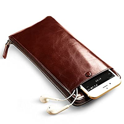 Genuine Leather Handbag Organizer Card Case Zipper Long Wallet
