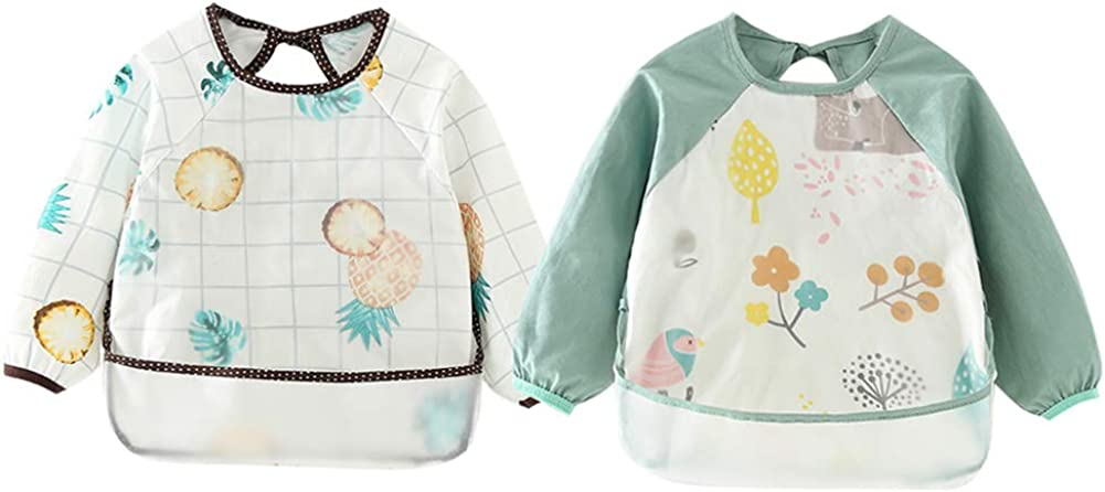 Happy Cherry Kids Waterproof Bib Art Smock Painting Aprons with Catch All Pocket