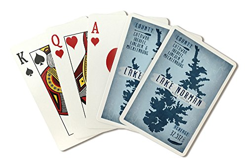 Lake Norman, North Carolina - Lake Essentials - Shape, Acreage and County (Playing Card Deck - 52 Card Poker Size with Jokers) by Lantern Press