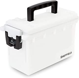 product image for Sheffield 12634 Storage Box | Locking Ammo Case, Crafts Box, or Kids Storage | Water Resistant & Tamper-Proof w/ 3 Locking Options | Interlocking Stackable Design, Great |White (2-Pack)
