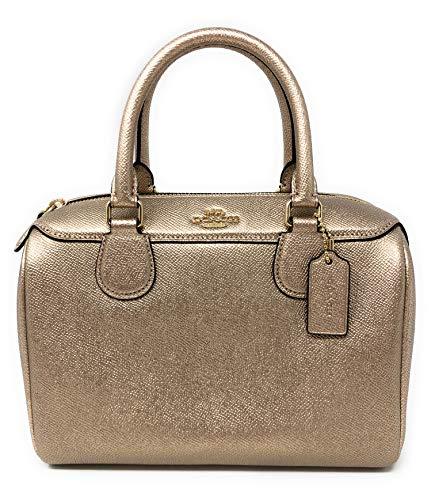 Coach Metallic Leather Mini Bennett Satchel Handbag (IM/ROSE GOLD)