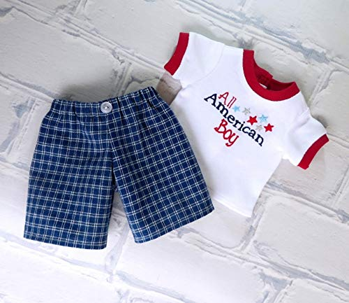 18 inch Doll Clothes 4th of July Outfit with American Boy T-Shirt and Plaid Shorts