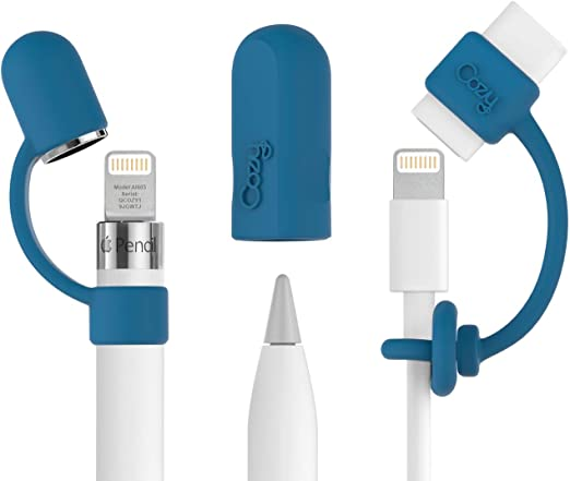 Nib Cover PencilCozy for Apple Pencil Cap by Cozy Industries TM Lightning Cable Adapter Tether Holder for Apple iPad Pro Pencil White-Combo