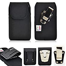 Ballistic Nylon Turtleback Rugged Heavy Duty Magnetic Closure Case with Belt Loop Clip and Steel Clip fits LG G3 with an Otterbox Defender case on it.