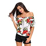 Sisiyer Women's Floral Print Off-The-Shoulder Half Sleeve Top Blouse White Large