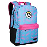 JINX Overwatch D.Va Splash Adult Backpack, Blue/Pink, 18'