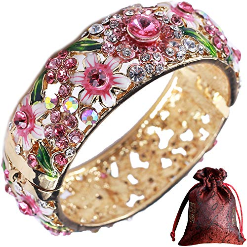 Pavaruni Traditional Gorgeous Chinese Cloisonne Bracelets, Rose Flower Retro Vintage Cultural Designed Enameled Jewelry, Cloisonné (Palace Pink(Bracelet))