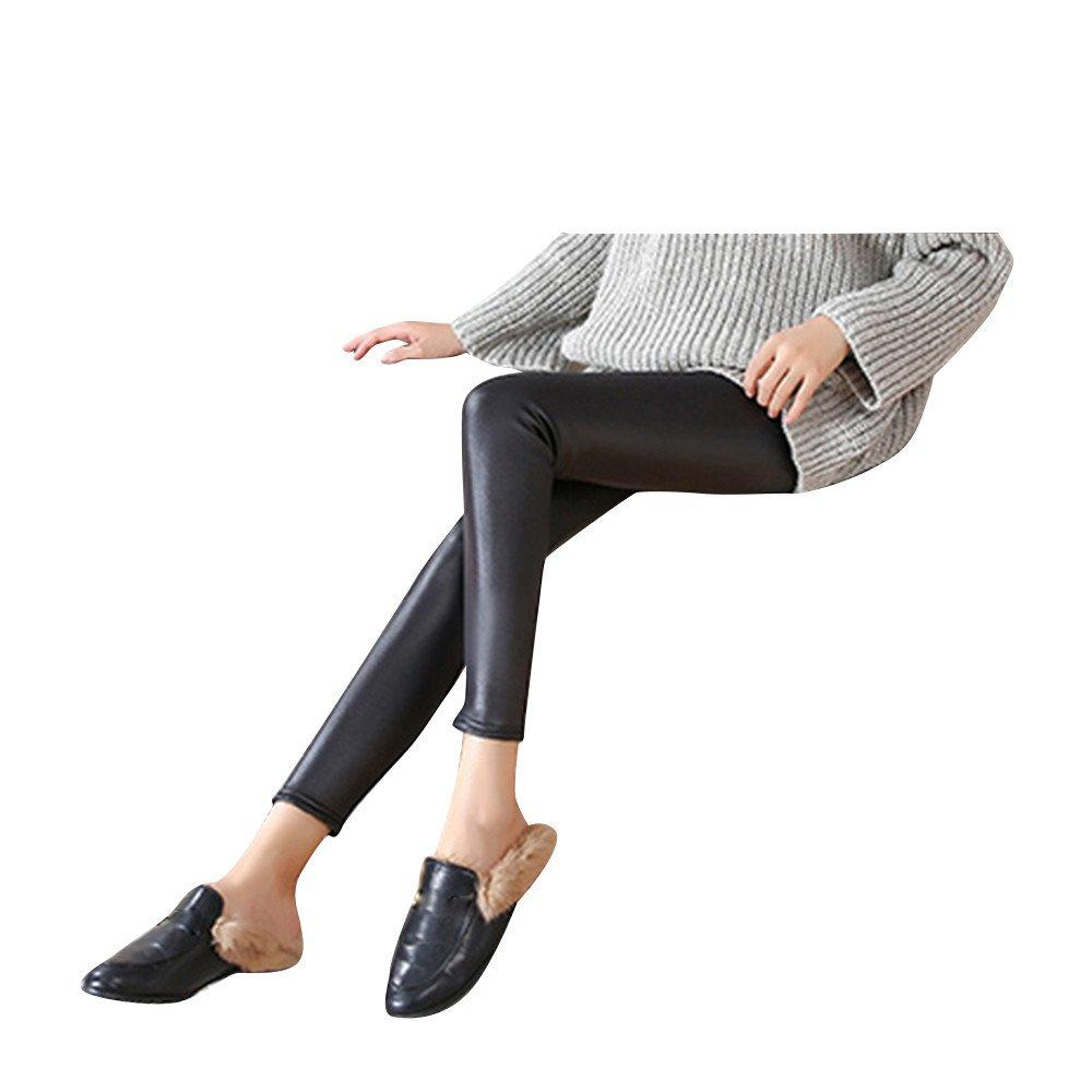 YAliDA 2019 Women Faux Leather Jeans High Waist Tights Skinny Pencil Pants Leggings M(Medium,Black)