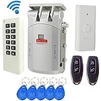 Wireless Remote Control Electronic Lock Invisible Keyless Entry Door Lock Wireless Password Keypad Exit Button Open Lock Wireless Full Kit