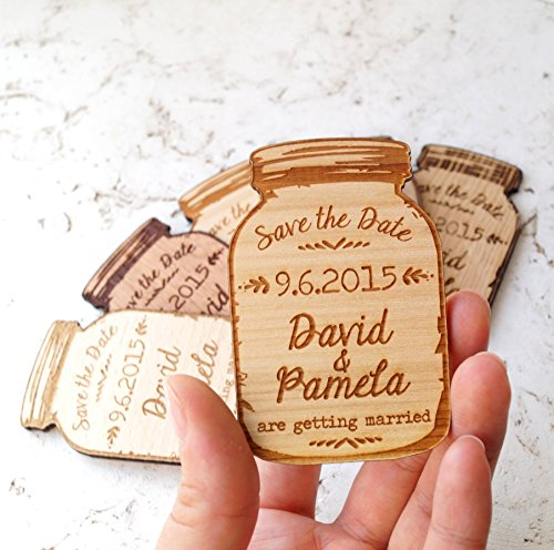 Wedding Save the Dates mason jar save the dates save the date magnets set of 25 magnets