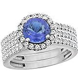 10K White Gold Natural Tanzanite 3-Piece Bridal Ring Set Round 6mm Halo Diamond, size 9