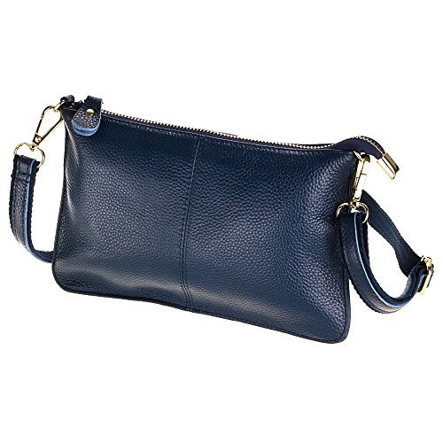 SEALINF Women's Cowhide Leather Clutch Handbag Small Shoulder Bag Purse (dark blue)