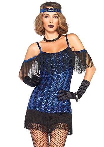 Leg Avenue Women's Gatsby Flapper Costume, Blue/Black, Large
