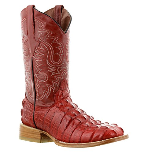 Team West - Men's Red Crocodile Tail Design Leather Cowboy Boots Square 9.5 2E US