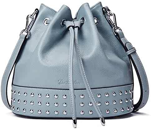 8545a2b76 BOSTANTEN Women Leather Bucket Handbag Designer Shoulder Hobo Purses  Cross-body Bag