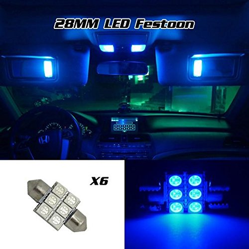 partsam-6-x-blue-6smd-led-map-dome-interior-lights-bulbs-28mm-festoon-2004-2009-acura-tsx