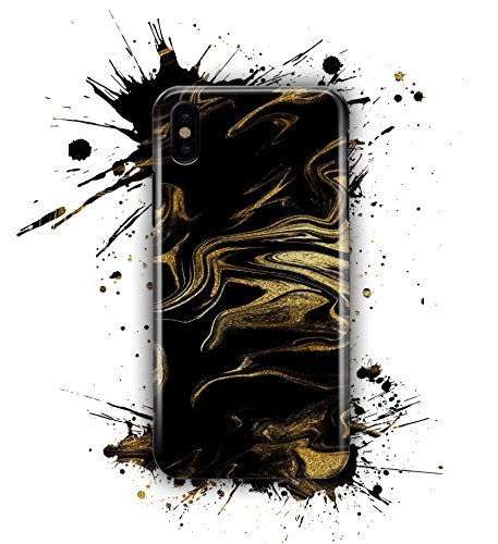 Marble Design Skinz Slim Premium Hard Case for The iPhone 6 - Black & Gold Marble Swirl V7