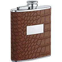 Visol Zimmer Crocodile Leatherette Liquor Flask, 6-Ounce, Brown