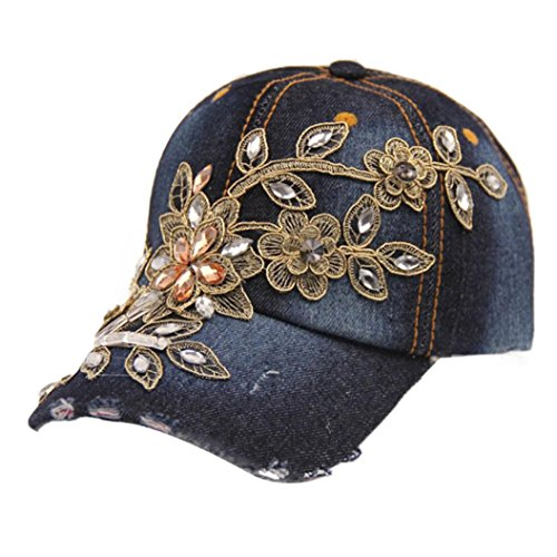 Gold Journey Round Diamond (EKIMI Baseball Cap Vogue Women Diamond Flower Summer Style Lady Jeans Hats)