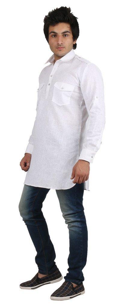 Royal Kurta Men's Fine Cotton Short Pathani Kurta For Denim's 42 White by Royal (Image #2)