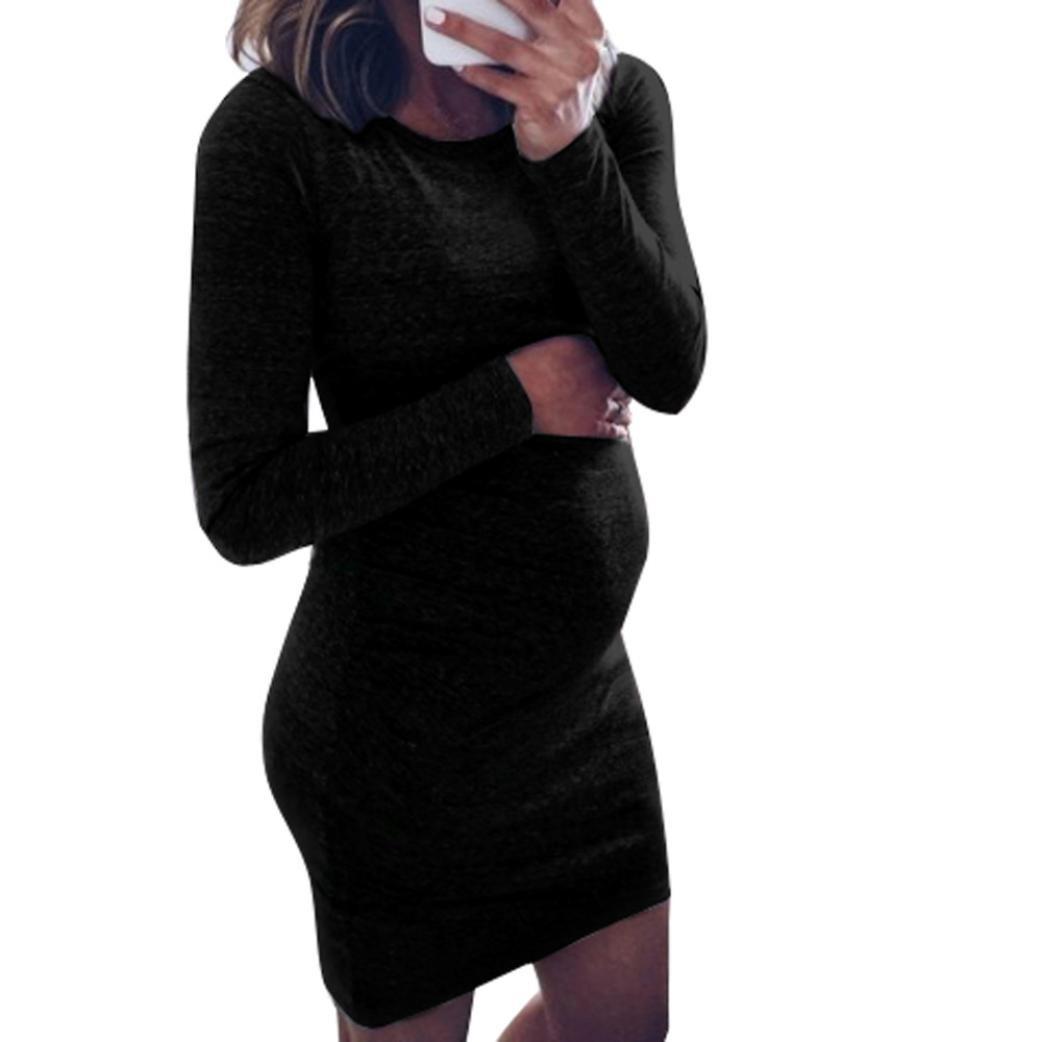 Umstandskleid, Binggong Mode Frauen Pregnants O-Ausschnitt Langarm Pflege Baby für Mutterschaft Minikleid Reizvoller Kleid Bequem Umstands Kleid Elegant Mutterschafts Kleid