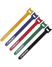 GWHOLE 60 pcs Self Gripping Reuseable Hook & Loop Cable Ties Fastener Stick Straps 18cmx1.2cm