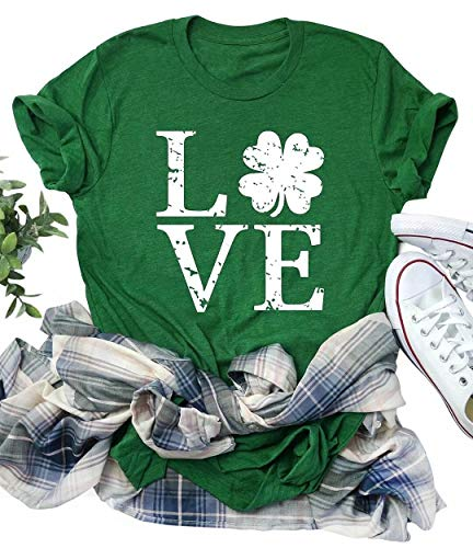 Love Shamrock Graphic St Patrick's Day Cute T-Shirt Women's Lucky Clover Irish Tees Short Sleeve Casual Tops Size Medium -