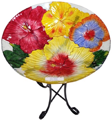 Hibiscus Flower Bowl - Continental Art Center CAC2609490 Deep Hand Painted Glass Plate, 18 by 3-Inch, Hibiscus Flower