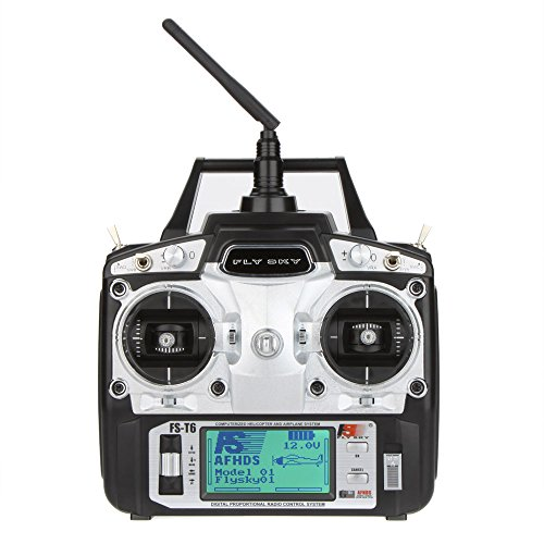 - GoolRC FS-T6 High Precision 2.4GHz 6CH Mode 2 Transmitter W/Receiver R6-B for RC Multirotor Quadcopter Helicopter Airplane Glider Car