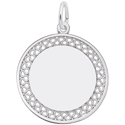 Filigree Disc Charm In 14k White Gold, Charms for Bracelets and Necklaces (Filigree Disc Charm)
