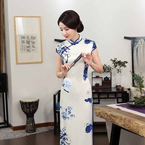 ACVIP Women Cap Sleeve Chinese Paint Floral Maxi Qipao Side Split Cheongsam (China S/Bust:32.3'') by ACVIP (Image #8)