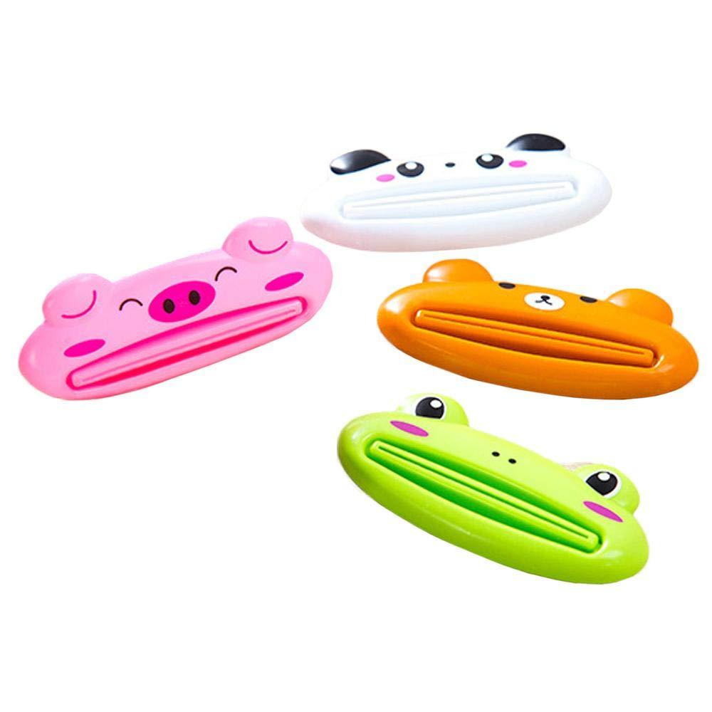 Aolvo Zahnpasta Tube Squeezer, 2 Pack Cute Design Cartoon Tier Zahnpasta Creme Squeezer Roll Zahnpastaspender Zahnpasta Halter für Kinder und Erwachsene